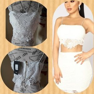 Fashion Nova spaghetti strap Crochet Crop Top